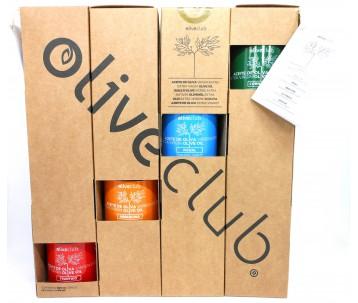 Aceite de oliva virgen extra Oliveclub estuche 4 botella 50 ml
