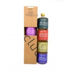 Les couleurs de l'huile d'olive extra vierge d'Oliveclub Coffret 4 bouteilles de 50ml pour seulement