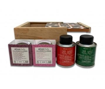 Boîte en bois avec couvercle en tuile sévillane.